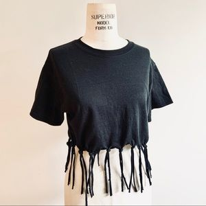 🎁2 for $25🎁 Black Fringed Crop Top Tee
